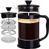 [1 Liter/ 1000 ml] 8 cups Kaffeebereiter mit Edelstahl Filter - French Press Kaffeemaschine - Französische Kaffeepresse - Französisches Pressensystem - Schwarz - KICHLY