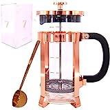 7grams French Press aus Glas, 1 Liter Kaffeepresse mit Dosierlöffel in rosé Gold – Design Kaffeebereiter