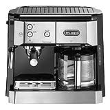 De'Longhi Kombikaffeemaschine BCO 421.S – Kaffeemaschine mit Espresso-Siebträger und Filterkaffee-Funktion inkl. Milchaufschäumdüse, Glaskanne & Wasserfilter-System, Edelstahl/Schwarz