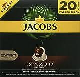 Jacobs Kaffeekapseln Espresso Intenso, Intensität 10 von 12, 20 Nespresso®* kompatible Kapseln für 20 Getränke