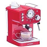 Oursson Kaffeemaschine, 15 Bar Espressomaschine, Espresso-Siebträgermaschine, Milchaufschäumer für Cappuccino und Latte, 1.5L Tank, EM1500/RD, Rot