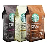 Starbucks Ganze Bohnen Röstkaffee Set Blonde Espresso, Pike Place, Espresso Roast, Kaffee, 3 x 200 g