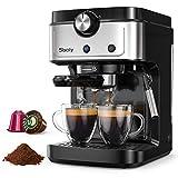 Sboly Espressomaschine, 2 In 1 Kaffeemaschine für Original Nespresso Kaffeekapseln und gemahlenen Kaffee, 19 Bar Espressomaschine mit abnehmbarem Wassertank, Milchdampfdüse für Cappuccino