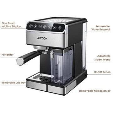 Kaffeemaschine Aicook mit Milchaufschäumer